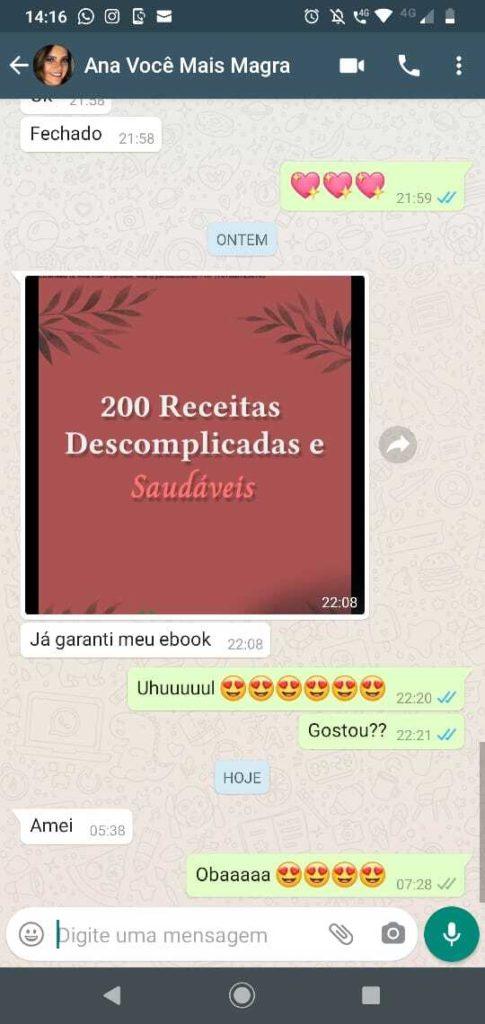 Depoimento Ana E-book 200 Receitas Descomplicadas e Saudáveis